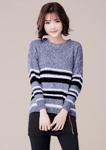 冬意漸濃條紋針織毛衣