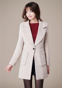 韓版時尚翻領毛呢外套