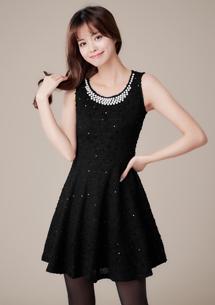 高雅氣質珍珠領洋裝