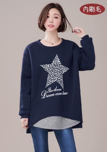 【限三天$188】休閒星漾配色內刷毛上衣