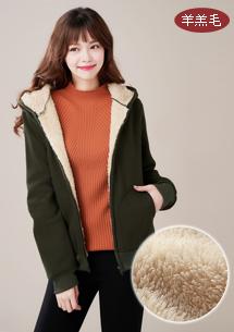 純色舒暖羊羔絨外套