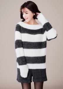 輕柔毛海條紋針織毛衣