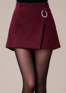 俏麗名媛釦環毛呢褲裙