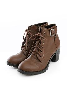 簡約設計綁帶粗跟踝靴