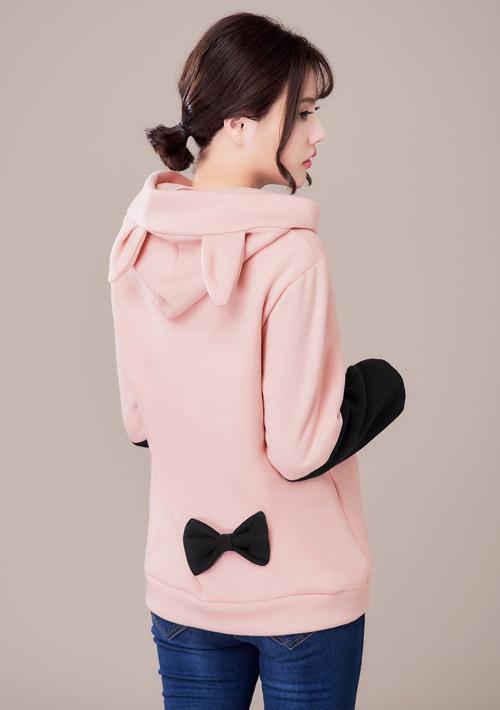 可愛造型配色厚棉刷毛上衣