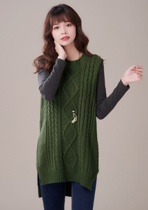 暖意麻花針織毛衣背心