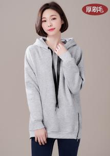 韓版雙拉鍊厚刷毛上衣