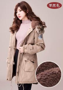 暖厚羊羔絨毛領軍裝外套