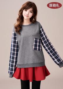 韓版格紋配色厚刷毛上衣
