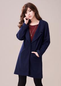 韓式風範毛呢翻領外套
