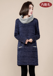 配色翻領刷毛針織洋裝