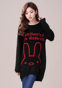 微笑萌兔針織長版上衣