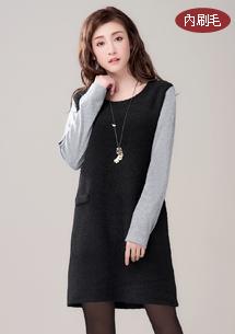韓式質感加厚圈圈絨洋裝