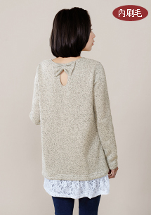 甜柔蕾絲刷毛針織上衣