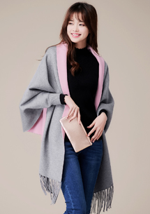 韓版配色流蘇披肩外套