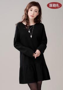 柔暖荷葉裙襬厚刷毛洋裝