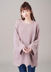 造型花苞寬袖反折毛衣