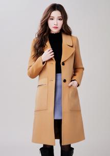 韓風翻領毛呢大衣外套
