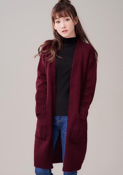 韓款混色針織開襟外套
