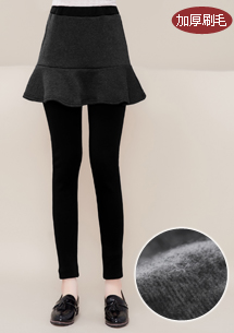 魚尾裙加厚刷毛內搭褲