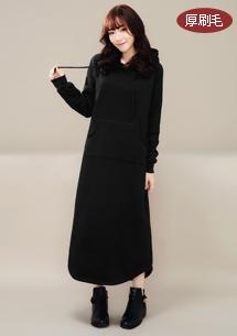 韓版厚刷毛連帽長洋裝