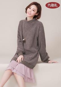 韓系美型圈圈絨配色洋裝