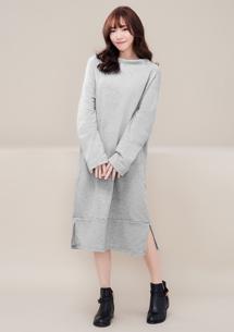 時尚寬領側開衩厚棉洋裝