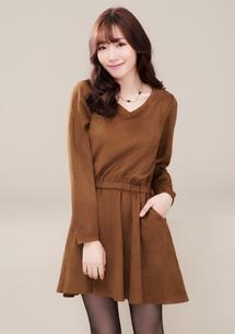韓系純色麂皮傘狀洋裝