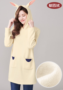 萌兔造型韓國絨上衣