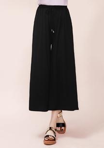 純色縮腰彈力寬版褲裙