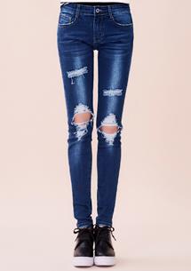 個性破洞窄管牛仔褲