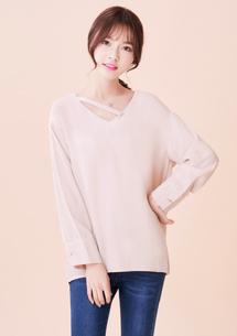 韓系透膚造型領雪紡上衣