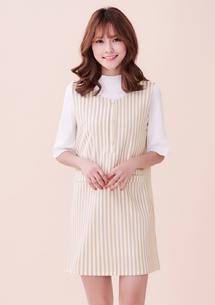 韓系風格直條紋背心裙