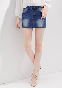高彈舒適刷色牛仔褲裙