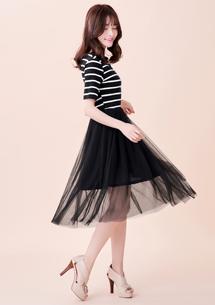 迷人條紋接網紗洋裝