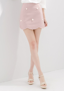 優雅甜漾珍珠花瓣短裙