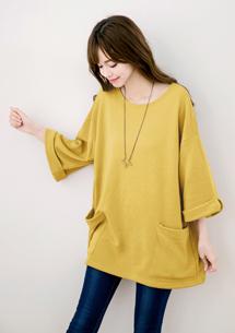 棉質七分袖長版上衣-芥黃