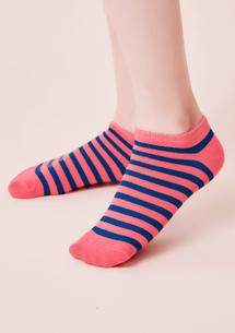條紋配色柔棉短襪