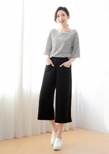 兩件式條紋休閒寬褲套組