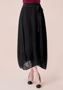 舒適棉麻綁帶花苞長裙