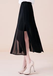 韓式魅力開叉雪紡長裙