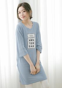 韓式風格印圖口袋上衣