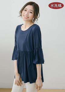 韓版荷葉袖水洗棉上衣