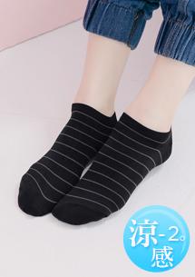 涼感舒爽條紋短襪
