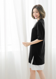 韓式簡約配色側開衩上衣