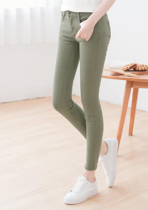 激瘦多色彈力窄管褲