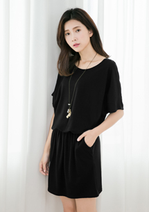 夏日繽紛柔棉縮腰洋裝