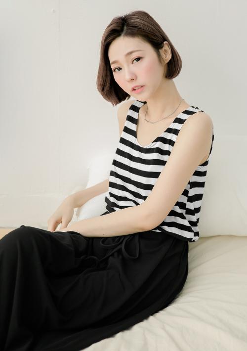 韓式打摺造型抽繩背心裙