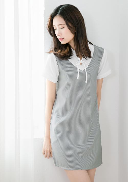 宮廷領結細直條紋洋裝