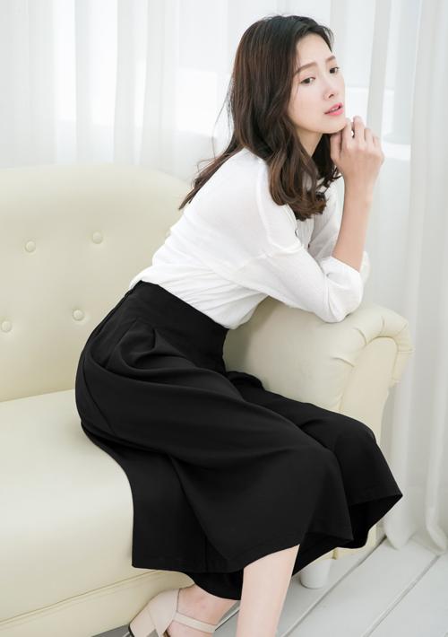 顯瘦必備打褶寬褲裙